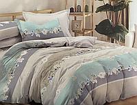Сатиновое постельное белье полуторное 150*220 хлопок 100% (14655) KRISPOL Украина