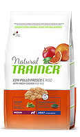 Сухой корм Trainer Natural  Adult Medium Con Pollo Fresco, Riso &  Aloe Vera для собак средних пород 3 кг.