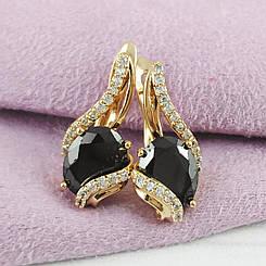 Серьги Xuping Jewelry Молли черные медицинское золото позолота 18К английский замок А/В 5699