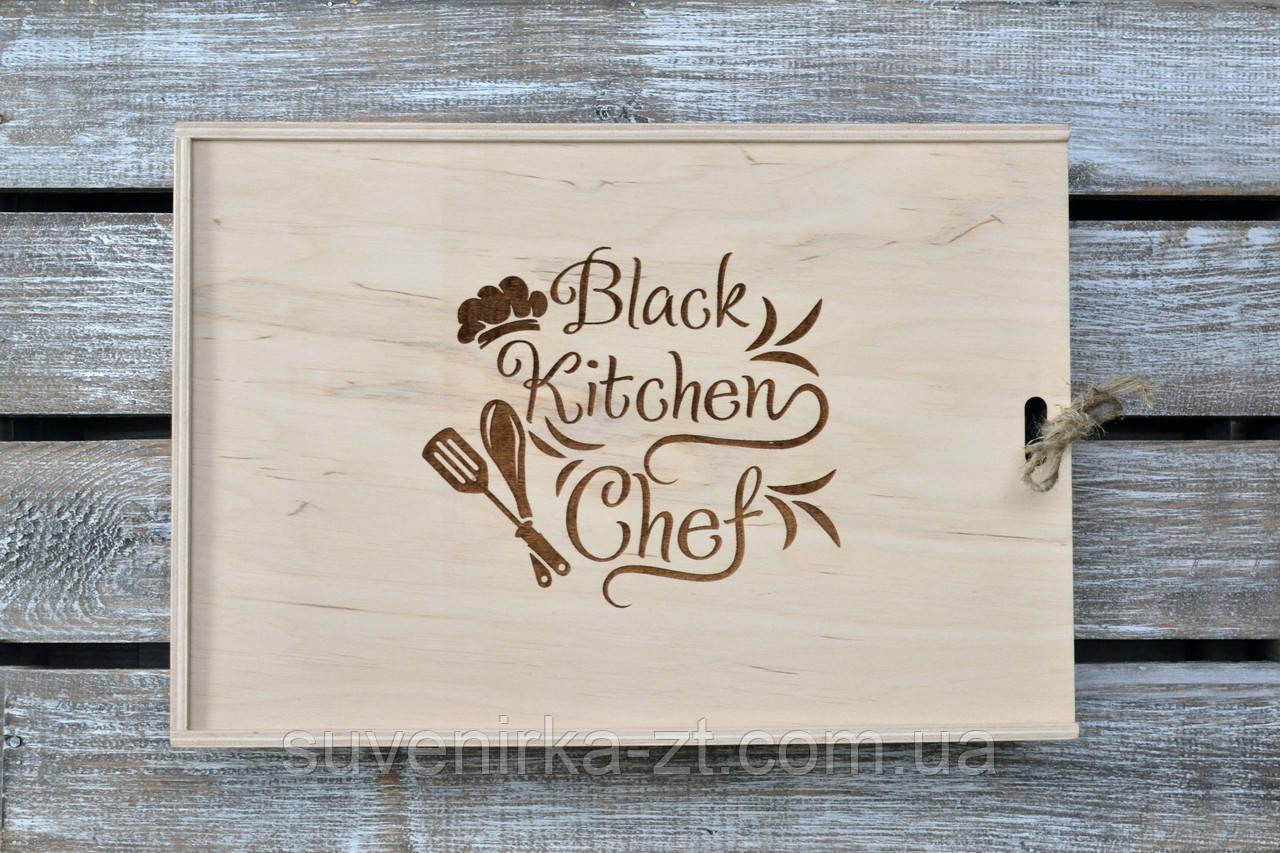 Набор для кухни. Деревянный блокнот, дубовая досточка, фартук и лопатка. (A00107)