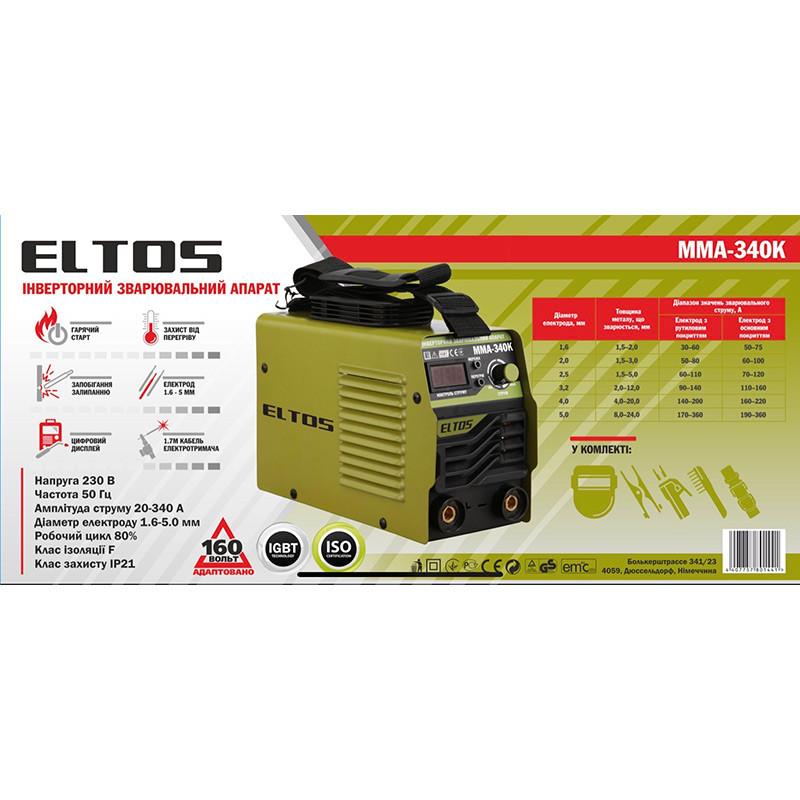 Сварочный аппарат Eltos MMA-340К (кейс, дисплей, антизалипание, горячий старт)