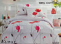 Комплект постельного белья евро двуспальный хлопковый Elway 5039 серо-красный в маки