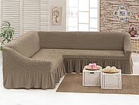 МНОГО ОТТЕНКОВ! Чехол на угловой диван с оборкой юбочкой рюшами, хлопок, какао, жемчужный, Турция