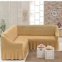 МНОГО ЦВЕТОВ! Чехол на угловой диван с оборкой юбочкой рюшами, хлопок, песочный бежевый, Турция
