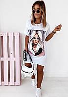 Платье-футболка,белое/чёрное,S,M,L,XL