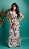 Нарядное летнее женское платье макси нежно-розовое с цветами размеры 44-46,48-50,52-54