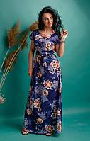Летнее женское платье в пол свободного фасона с крупными цветами синего цвета размеры 44-46,48-50,52-54