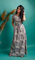 Пастельное серое летнее платье молодежного кроя с карманами и поясом размеры 44-46,48-50,52-54