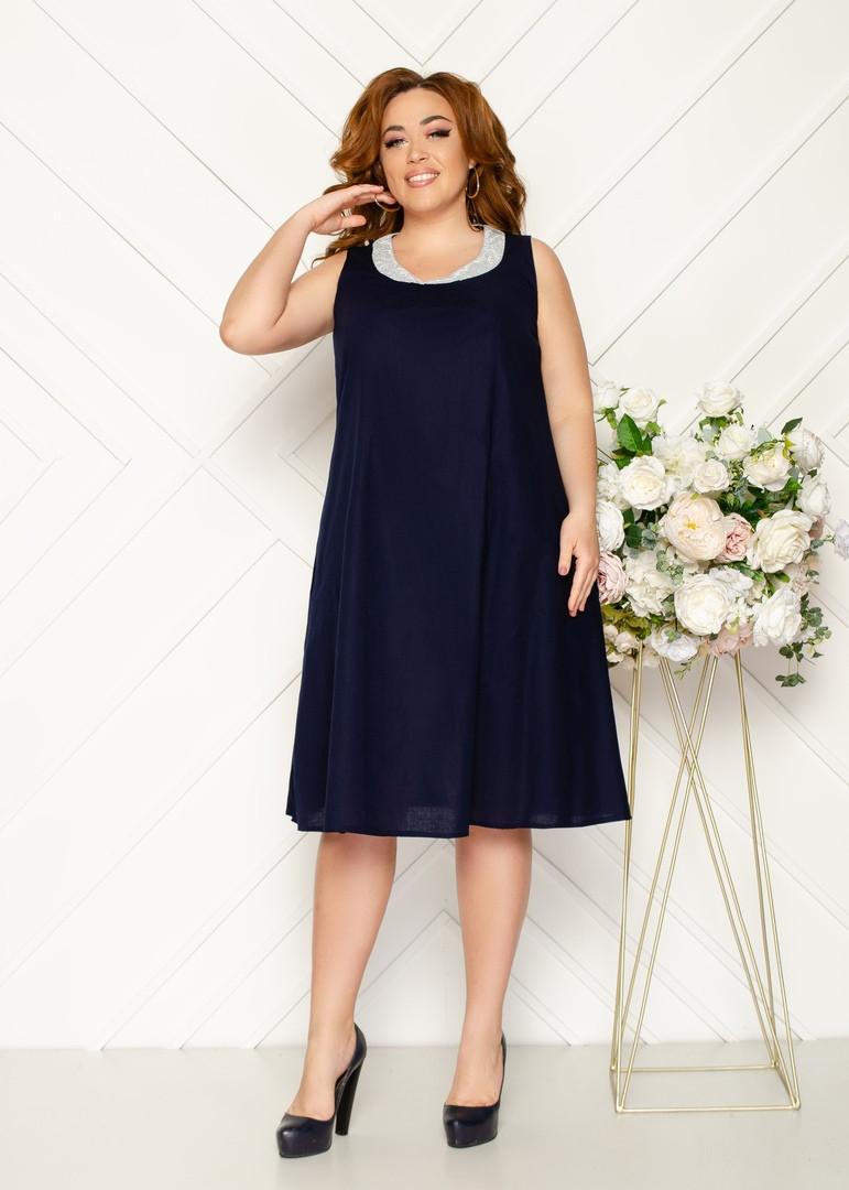 Женское льняное платье свободного кроя 48-50, 52-54, 56-58.