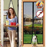 Антимоскитная сетка штора на магнитах Magic Mesh, сетка на двери 210 см на 100 см, фото 8