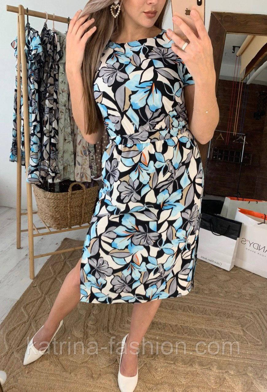 Платье миди женское с разрезами по бокам летнее цветочный принт