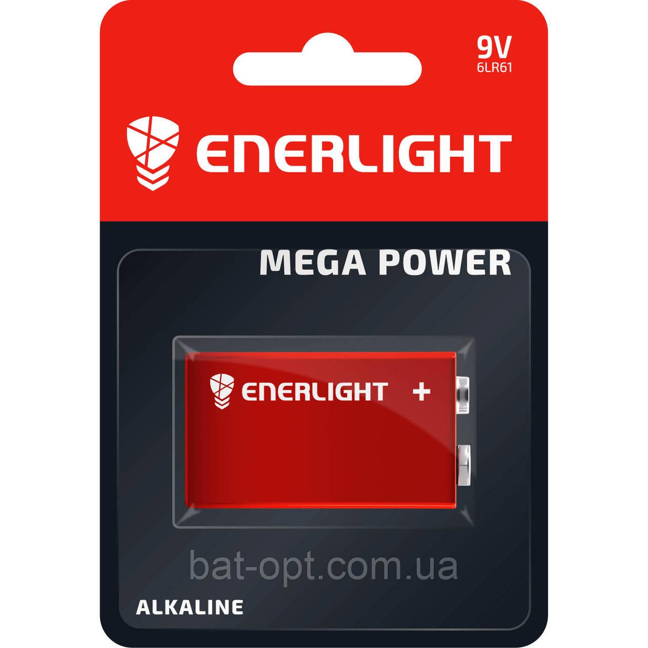 Батарейка щелочная Enerlight Mega Power 9V 6LR61 крона (блистер)