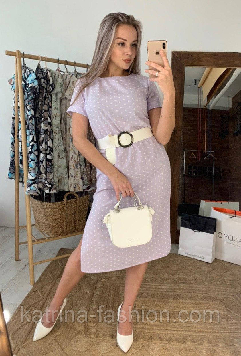 Платье миди женское с разрезами по бокам летнее в горошек