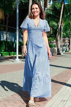 Красивое платье с рюшами Гледис голубое