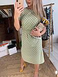 Сукня міді жіноче оливкова в горошок з розрізами з боків літній, фото 3