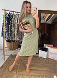 Сукня міді жіноче оливкова в горошок з розрізами з боків літній, фото 2