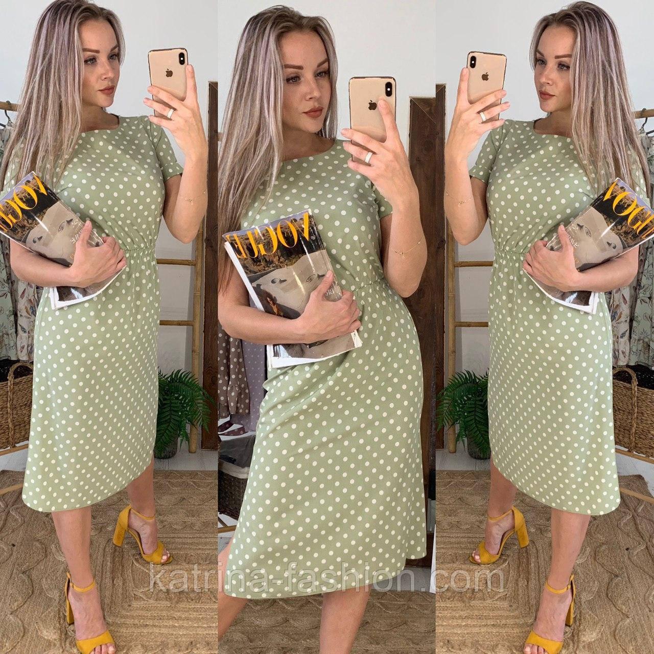 Сукня міді жіноче оливкова в горошок з розрізами з боків літній