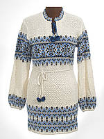 Стильная вязаная женская вышиванка туника