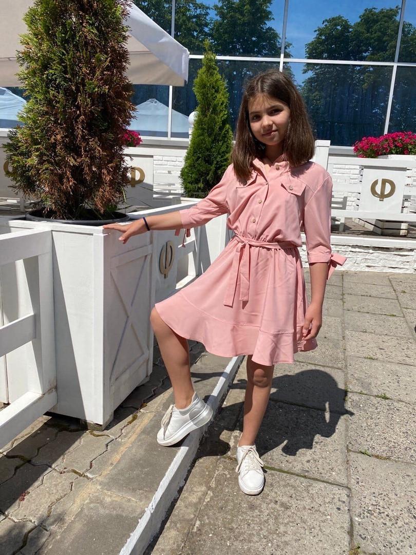 """Расклешенное детское платье """"Алена"""" на пуговицах (3 цвета)"""
