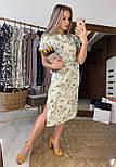 Сукня міді жіноче оливкова з розрізами з боків літній з квітковим принтом, фото 2