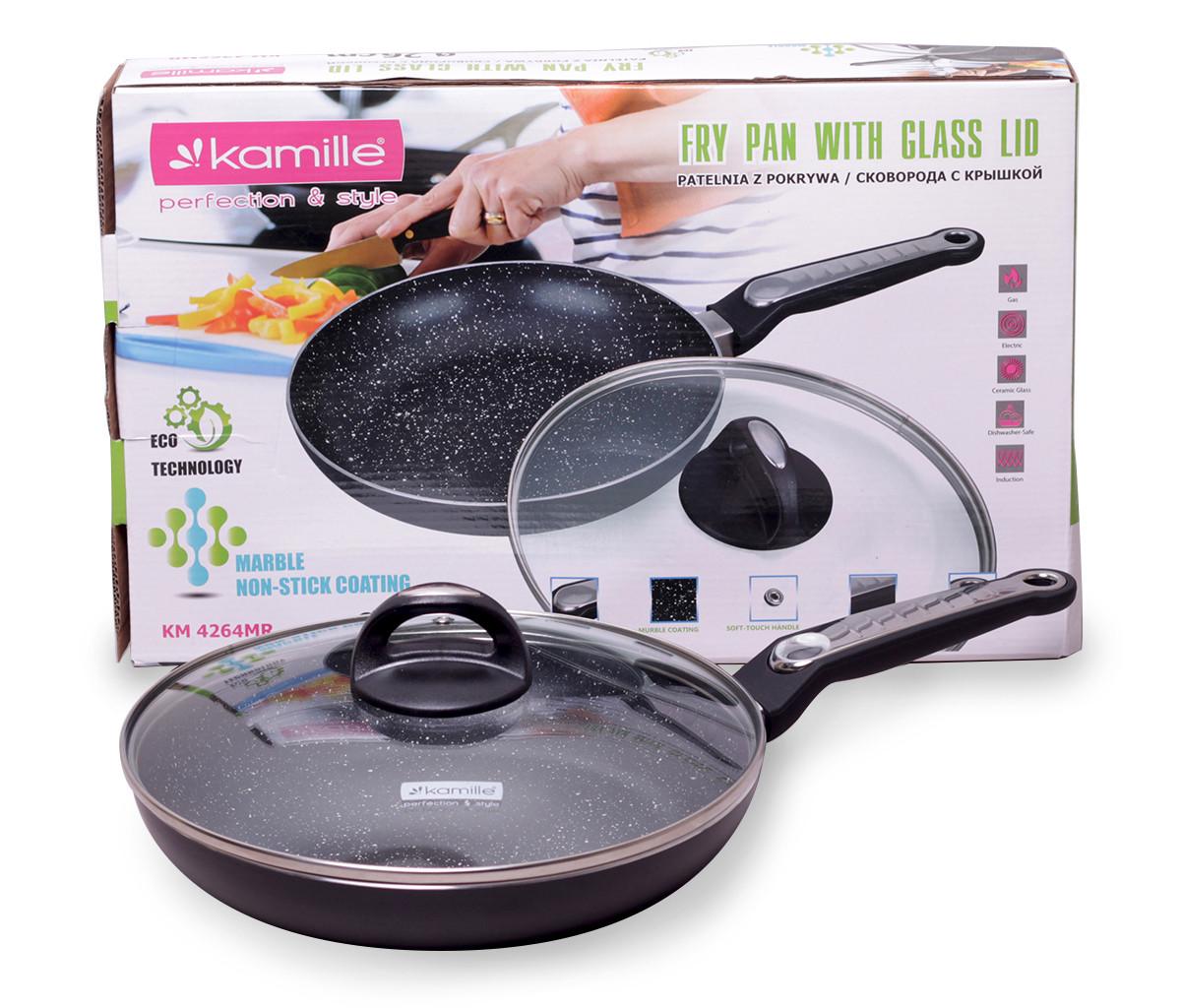 Сковорода Kamille 24см з мармуровим покриттям і кришкою для індукції і газу KM-4264MR