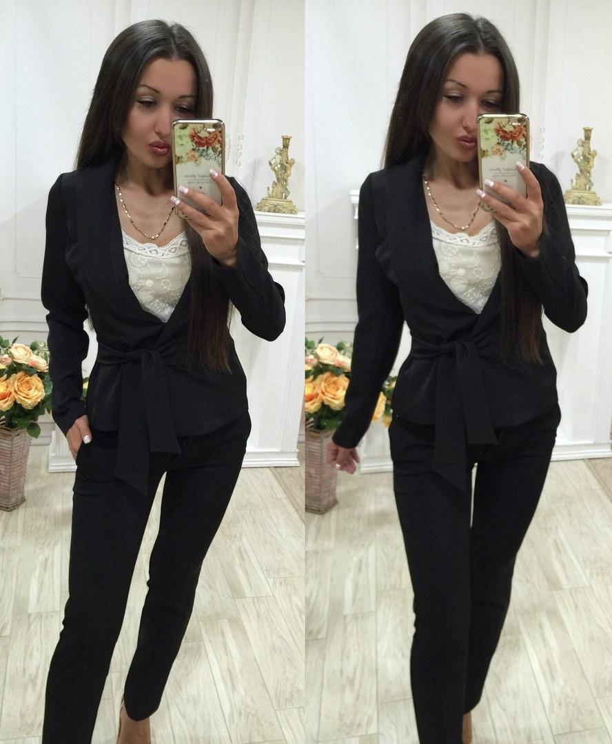 Летний брючный костюм черного цвета/ черный С1606