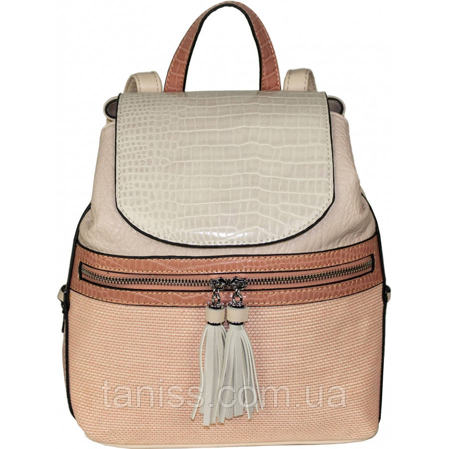 Стильный летний рюкзак, ткань экокожа, 1 короткая ручка,2 лямки,3 отделения,3 цвета (H8431 )розовый