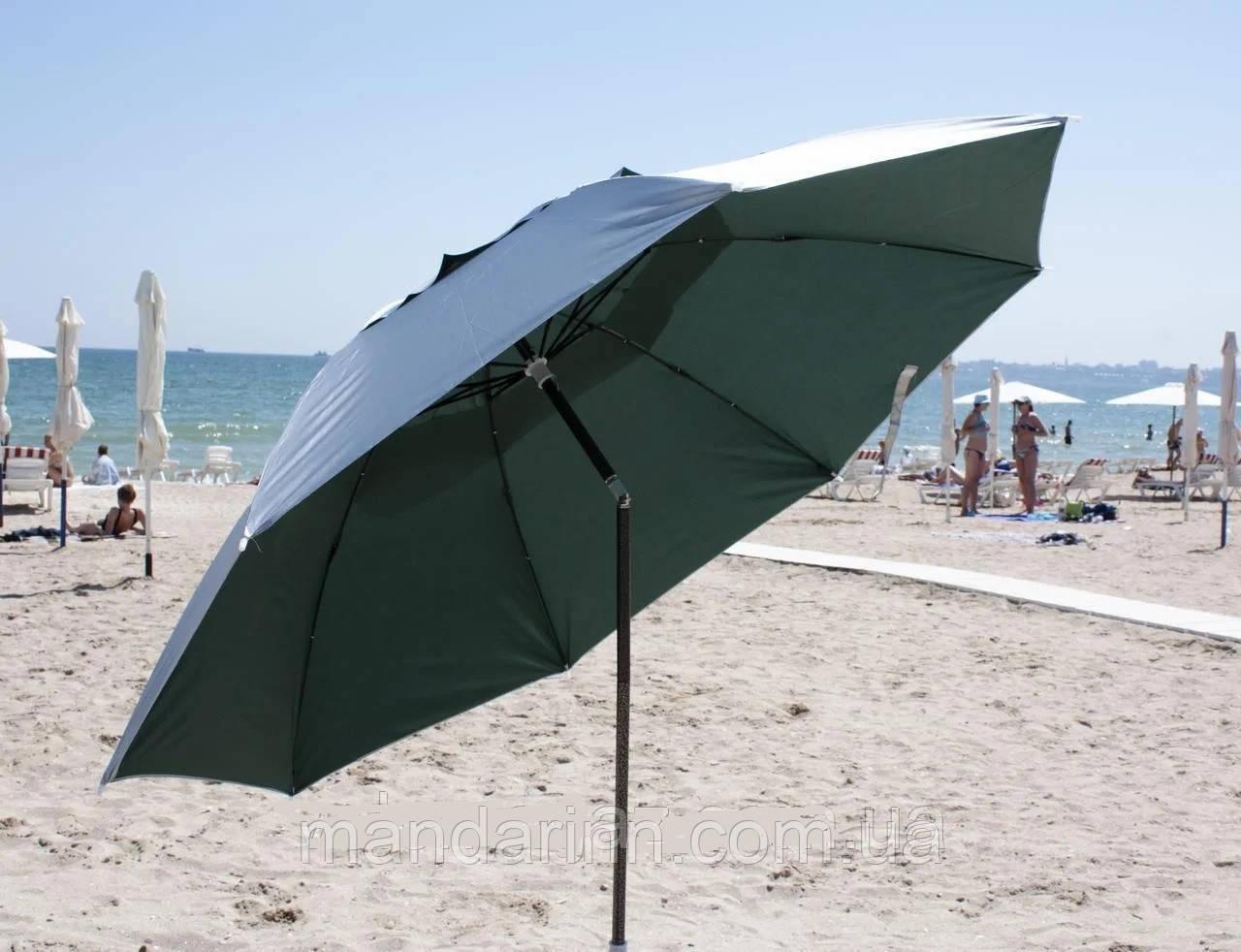 Пляжний зонт компактний, складаний, 160см, блакитний і зелений колір - фото 1