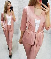 Костюм тройка женский стильный - брюки, майка и кардиган с поясом арт 165, цвет розовый / пудра