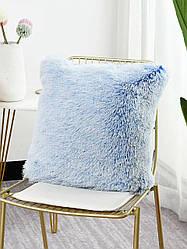 "Декоративная подушка ""Пушистик"" градиент омбре синий и белый"