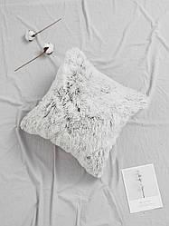 """Декоративная подушка """"Пушистик"""" градиент омбре белая и серая"""