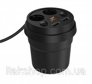 Разветвитель прикуривателя на 2 выхода + 2 USB (12/24V) Konnwei Черный