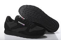 Кроссовки мужские Reebok Classic Suede Black (в стиле рибок) черные, фото 1