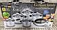 Набор посуды German Family 12 предметов нержавеющая сталь силиконовые ручки (кастрюли, сотейник, сковорода), фото 6