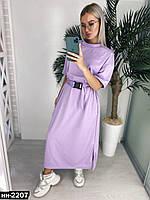 Женское стильное свободное платье макси с поясом Разные цвета, фото 1
