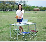 Стол для пикника усиленный с 4 стульями Folding Table, стол туристический складной, 120х60х55 см (синий), фото 4