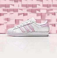 Кросівки жіночі Adidas Superstar White/Pink (в стилі адідас), фото 1