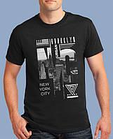 """Футболка мужская  летняя с коротким рукавом и рисунком """"NYC"""" черная"""