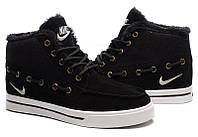 Кроссовки зимние мужские Nike High Top Fur (в стиле найк) черные