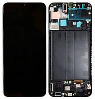 Дисплей для Samsung A507 Galaxy A50s модуль в сборе с тачскрином, черный, с рамкой, Original (PRC)