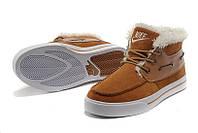 Кроссовки зимние мужские Nike High Top Fur (в стиле найк) коричневые