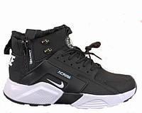 """Кроссовки зимние мужские Nike Huarache X Acronym City MID Leather """"Black/White""""  (в стиле найк)"""