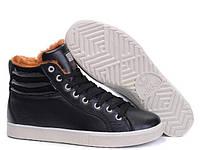 Кроссовки мужские Adidas Ransom Fur Fur Black Leather (в стиле адидас) черные