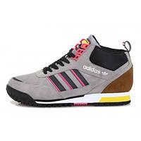 Кроссовки мужские Adidas ZX  С МЕХОМ (в стиле адидас) шоколад