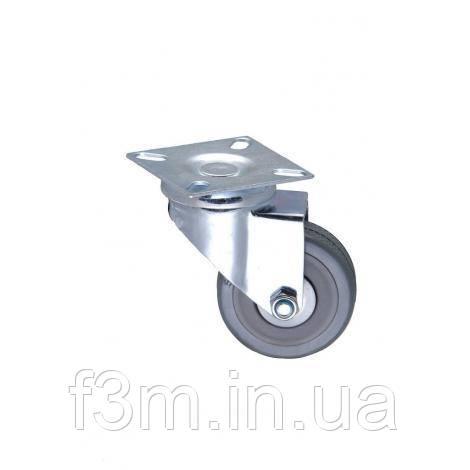 Опора роликовая, плоская, с площадкой, корпус-сталь, ролик- пластик+ резина:  Ø50 мм, H=70 мм, F3M