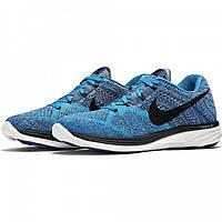Кроссовки мужские Nike Flyknit Lunar 3 Blue Lagoon (в стиле найк) синие