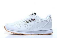Кроссовки женские Reebok Classic Leather White (в стиле рибок) белые 37