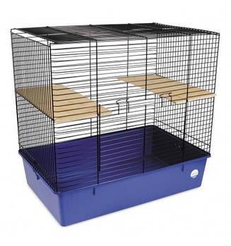 Клетка ШИНШИЛЛА для мелких декоративных грызунов черная/синяя, 70х44х66 см