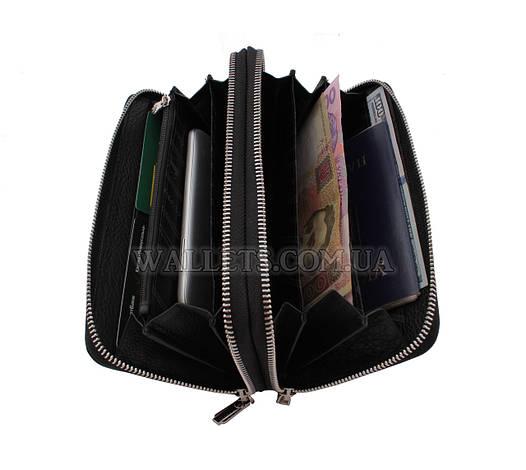 Кожаный кошелек-барсетка MARCO COVERNA, черный, 2 молнии