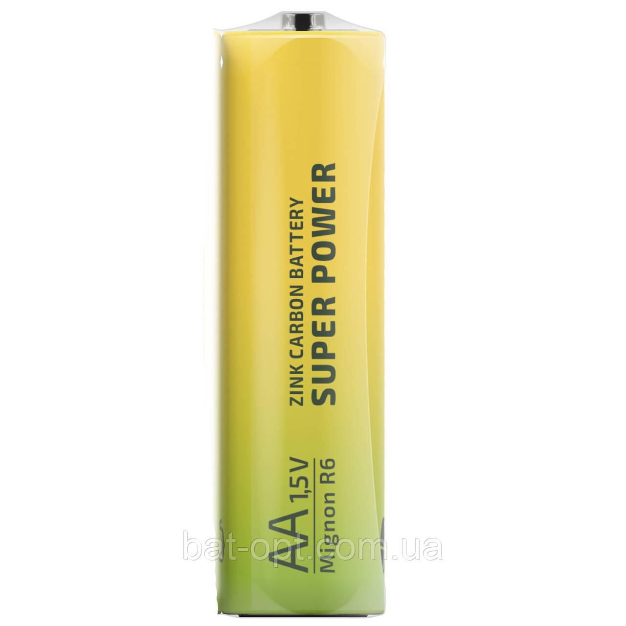 Батарейка солевая Enerlight Super Power R6 AA пальчиковая (трей)
